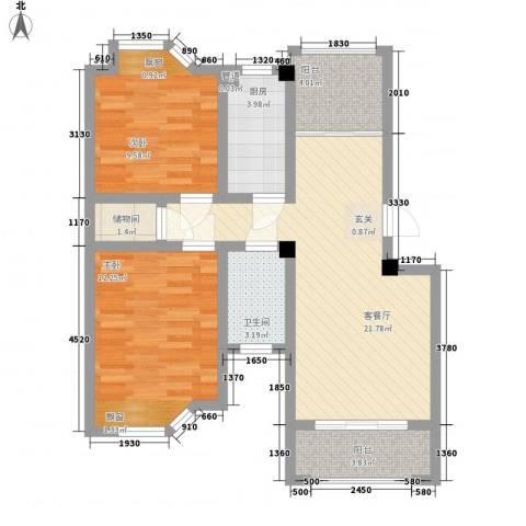 水岸观邸2室1厅1卫1厨88.00㎡户型图