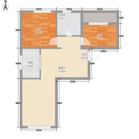 天麓2室1厅1卫1厨85.00㎡户型图