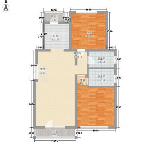 境界梅江观秀2室1厅2卫0厨115.00㎡户型图