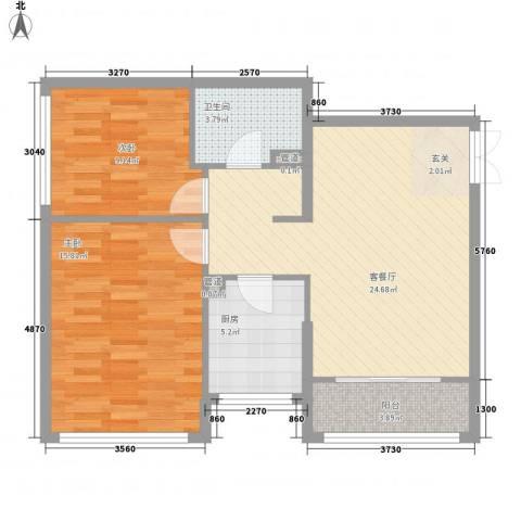 金地经典2室1厅1卫1厨88.00㎡户型图