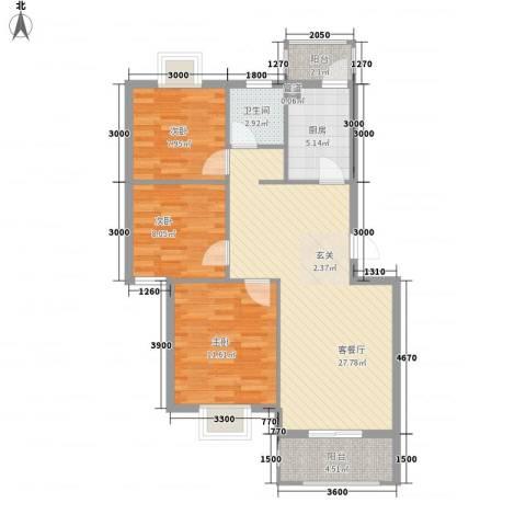 盛世嘉苑3室1厅1卫1厨85.00㎡户型图