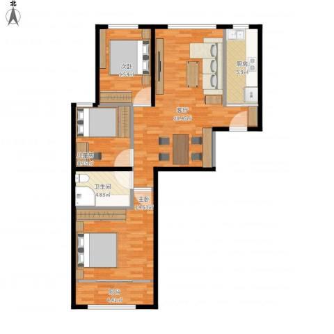航天城小区3室1厅1卫1厨106.00㎡户型图