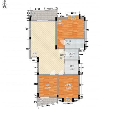 顺宝花园3室1厅2卫1厨102.85㎡户型图