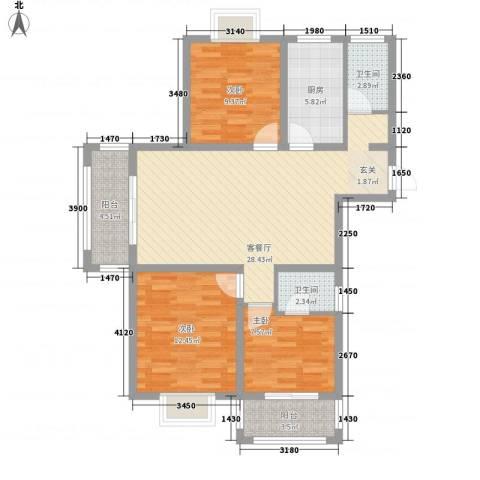星月城3室1厅2卫1厨112.00㎡户型图