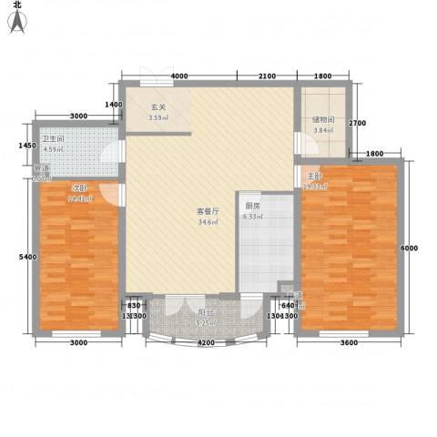 新新怡园二期2室1厅1卫1厨88.56㎡户型图