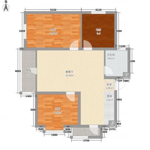 新新怡园二期3室1厅1卫0厨79.18㎡户型图