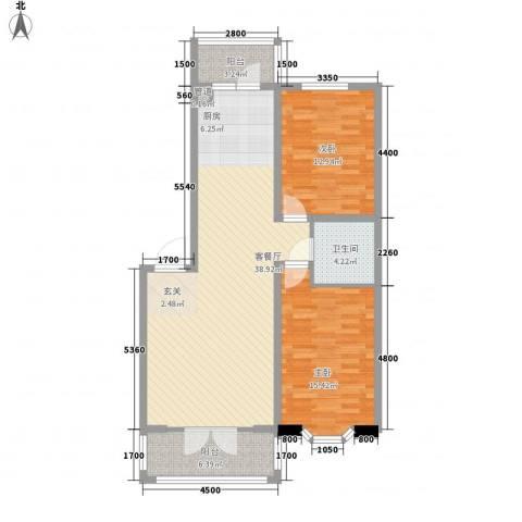 新新怡园二期2室1厅1卫0厨81.28㎡户型图