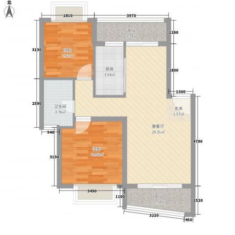 秋园雅苑2室1厅1卫1厨85.00㎡户型图