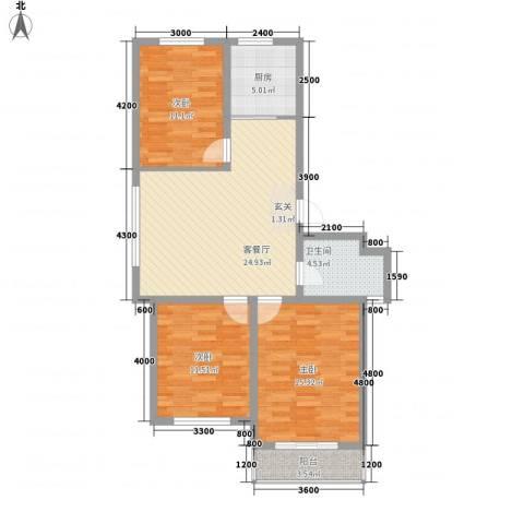 森威花园3室1厅1卫1厨108.00㎡户型图