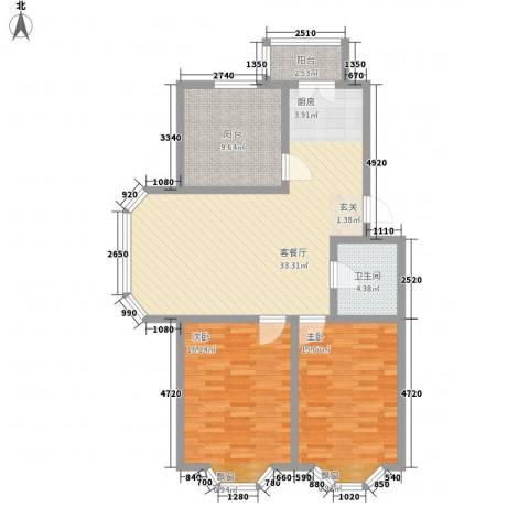 罗马花园二期2室1厅1卫0厨115.00㎡户型图