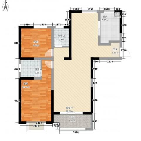 瀚林国际2室1厅2卫1厨115.00㎡户型图