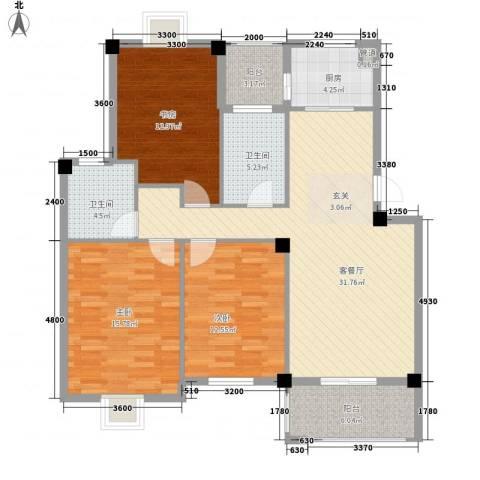 盛世嘉苑3室1厅2卫1厨114.00㎡户型图