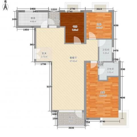 融科玖玖城3室1厅2卫1厨122.00㎡户型图