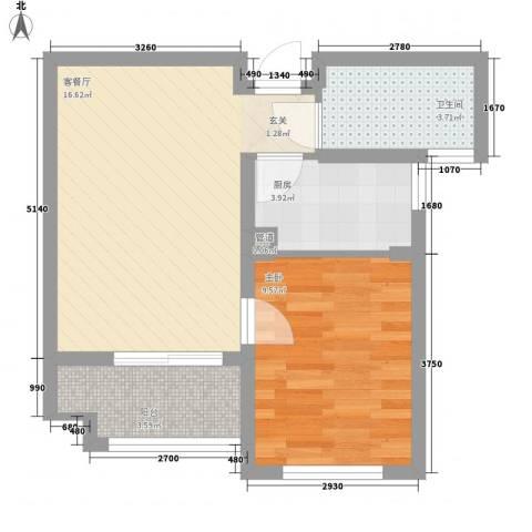 水岸观邸1室1厅1卫1厨55.00㎡户型图