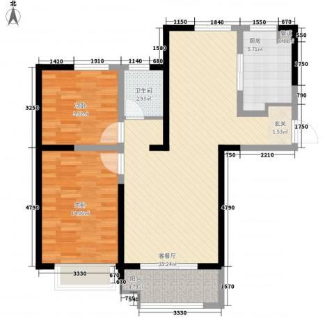 瀚林国际2室1厅1卫1厨72.23㎡户型图