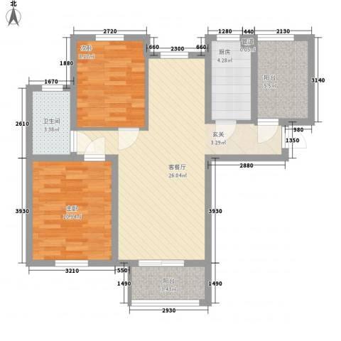 水岸观邸2室1厅1卫1厨90.00㎡户型图