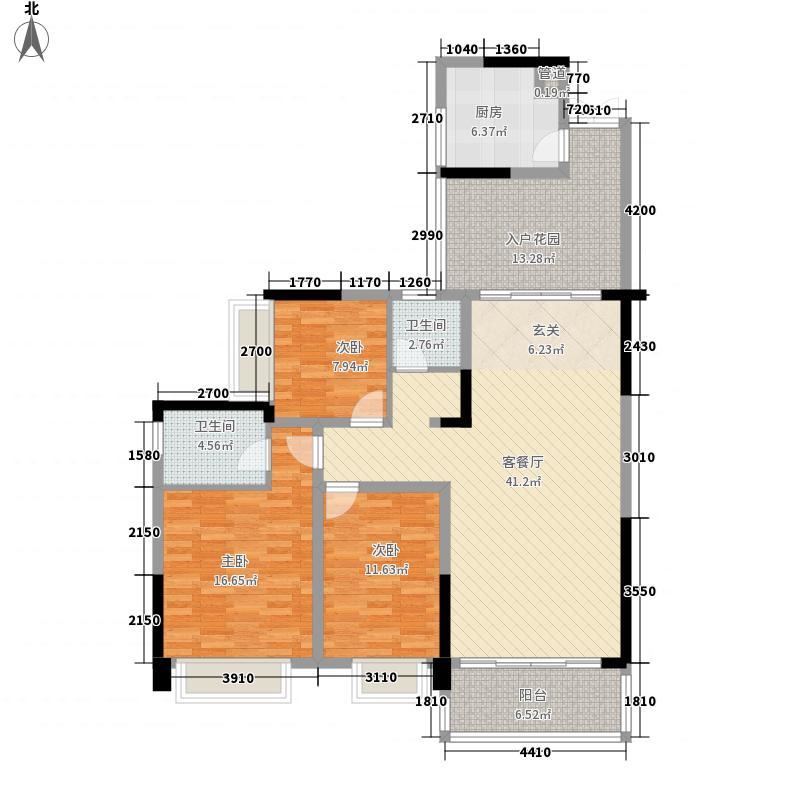 恒豪翠谷城135.20㎡E户型3室2厅2卫1厨