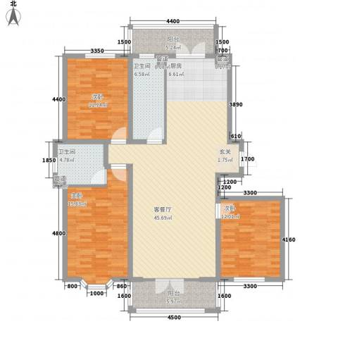 新新怡园二期3室1厅2卫0厨109.36㎡户型图