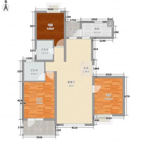 融科玖玖城3室1厅2卫1厨131.00㎡户型图