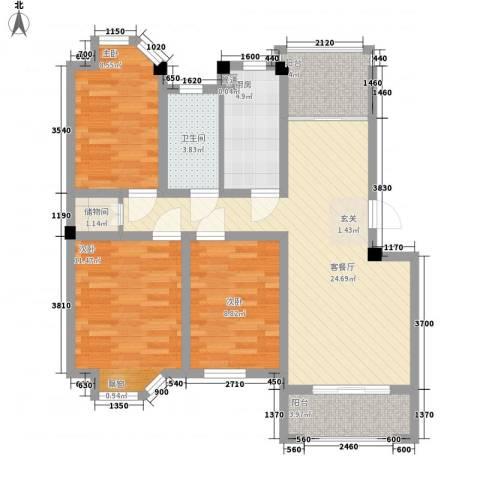 水岸观邸3室1厅1卫1厨105.00㎡户型图