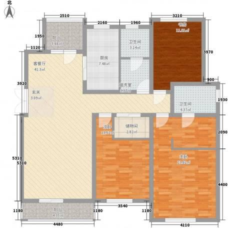 境界梅江观秀3室1厅2卫1厨158.00㎡户型图