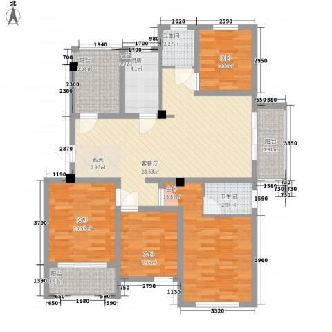 水岸观邸4室1厅2卫1厨129.00㎡户型图