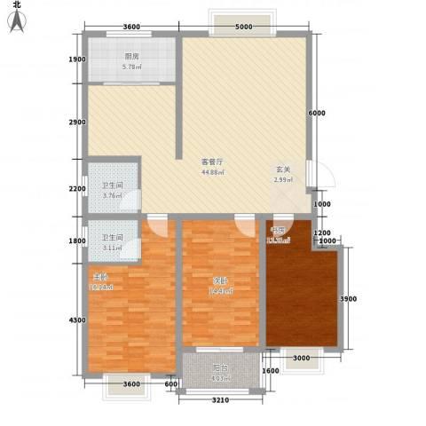 智雅茗苑3室1厅2卫1厨129.00㎡户型图