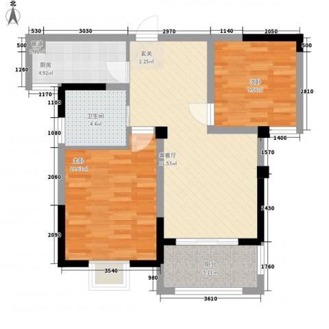 新都国际2室1厅1卫1厨85.00㎡户型图