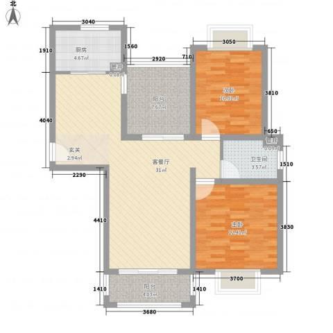 空港一号花园2室1厅1卫1厨106.00㎡户型图