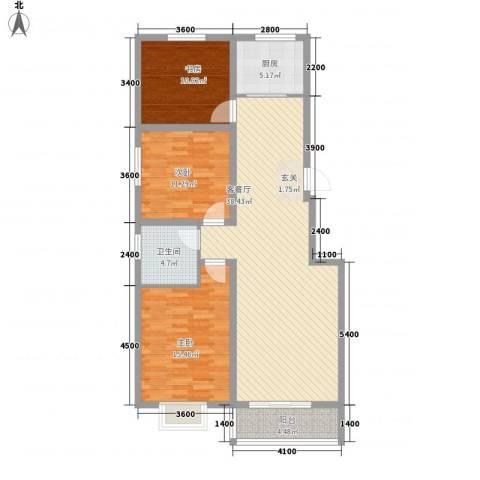 智雅茗苑3室1厅1卫1厨114.00㎡户型图