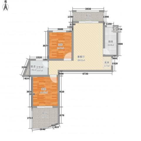 绿地世纪城・塞纳印象2室1厅1卫1厨102.00㎡户型图
