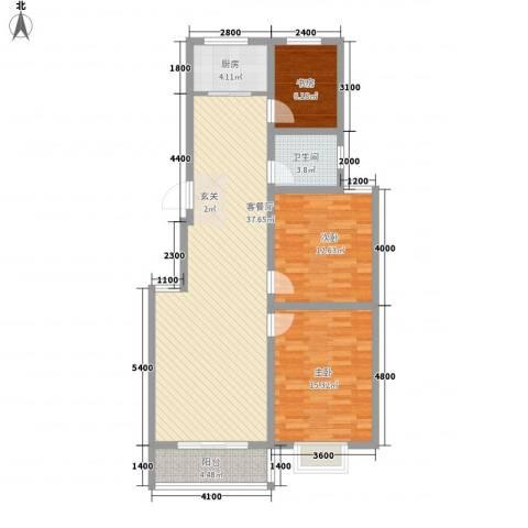 智雅茗苑3室1厅1卫1厨105.00㎡户型图