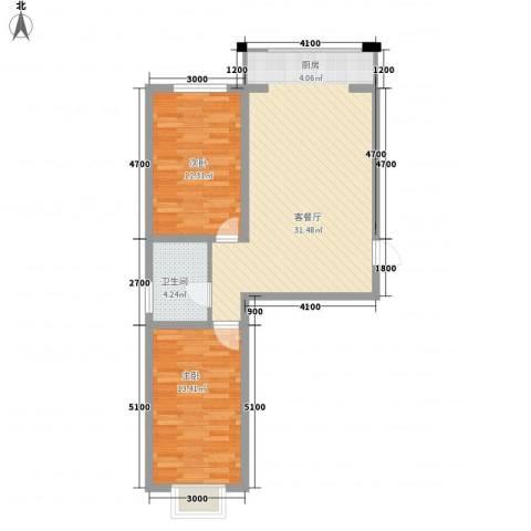 水岸国际2室1厅1卫0厨78.00㎡户型图