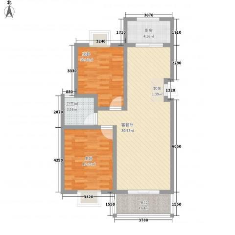 星月城2室1厅1卫1厨66.76㎡户型图