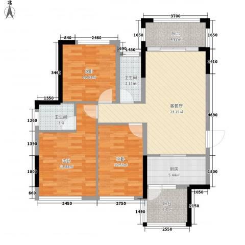 金鸿利嘉阁3室1厅2卫1厨112.00㎡户型图