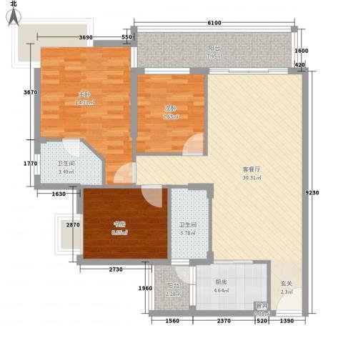 华发国际花园3室1厅2卫1厨118.00㎡户型图
