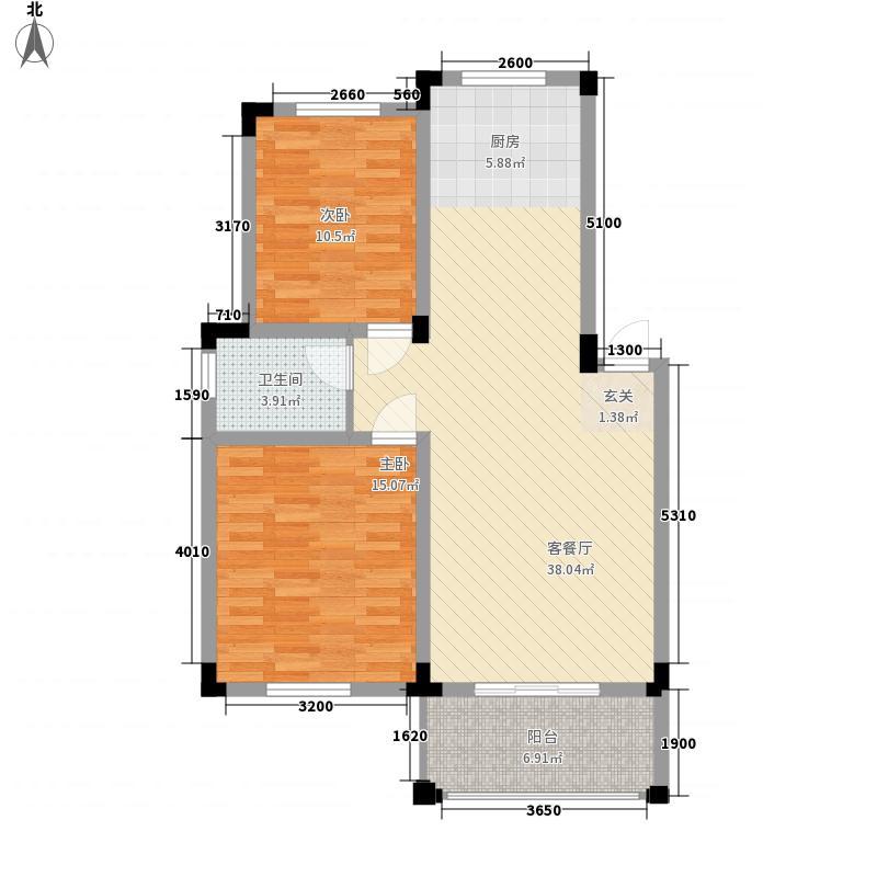 金涛国际华城84.47㎡二期A1户型2室2厅1卫1厨