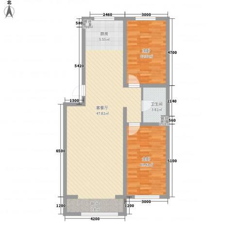 水岸国际2室1厅1卫0厨98.00㎡户型图