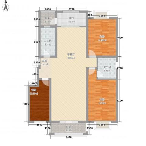 智雅茗苑3室1厅2卫1厨145.00㎡户型图