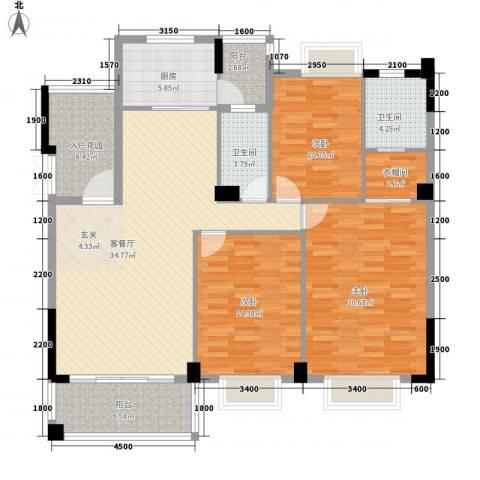 西堤国际花园3室1厅2卫1厨133.00㎡户型图