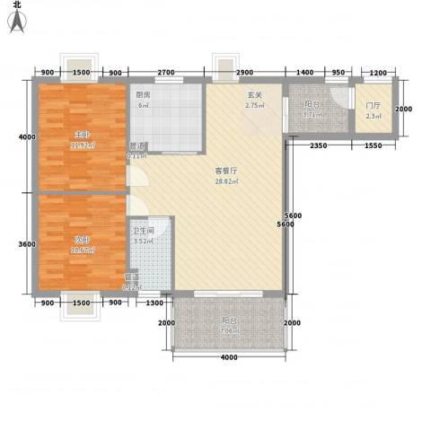 国色天香2室1厅1卫1厨104.00㎡户型图