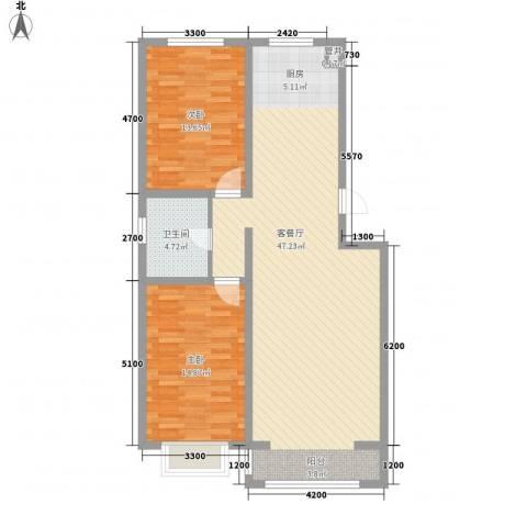 水岸国际2室1厅1卫0厨103.00㎡户型图