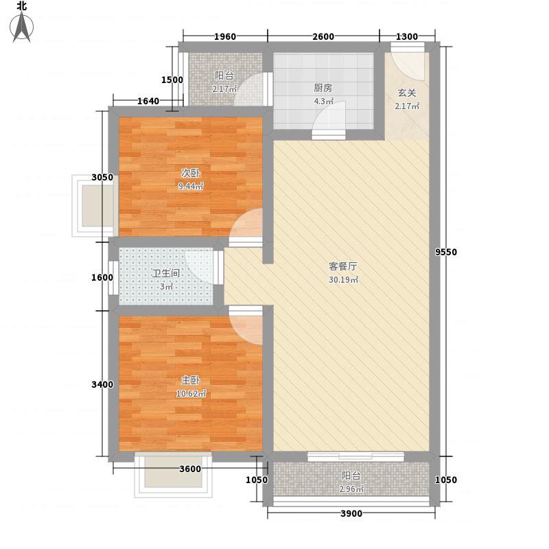 星海名城二期85.00㎡二单元3-4号户型2室2厅1卫1厨