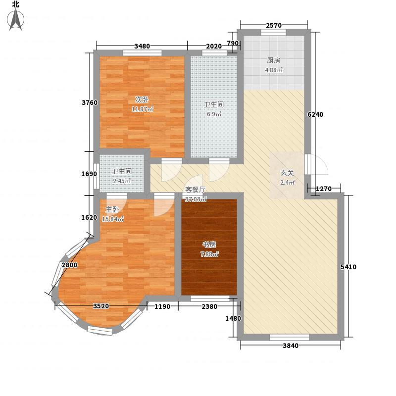 观海听涛118.60㎡户型3室2厅2卫1厨