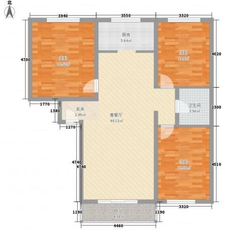 万盛佳园3室1厅1卫0厨132.00㎡户型图