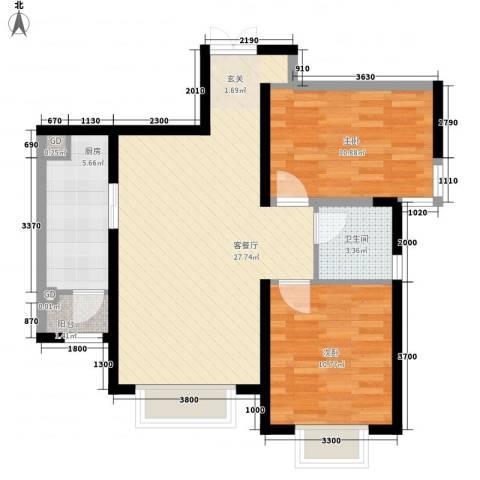 金鼎花园2室1厅1卫1厨86.00㎡户型图