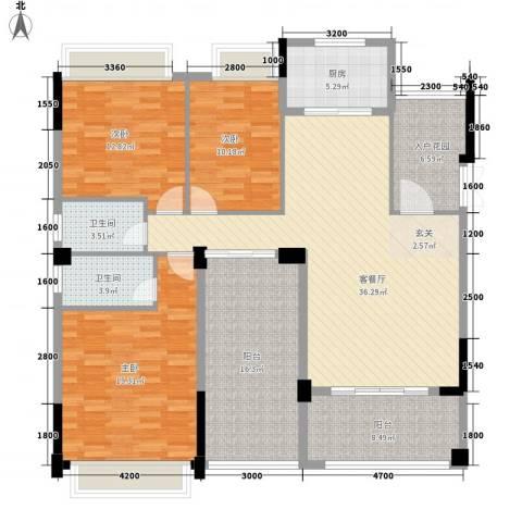西堤国际花园3室1厅2卫1厨136.00㎡户型图