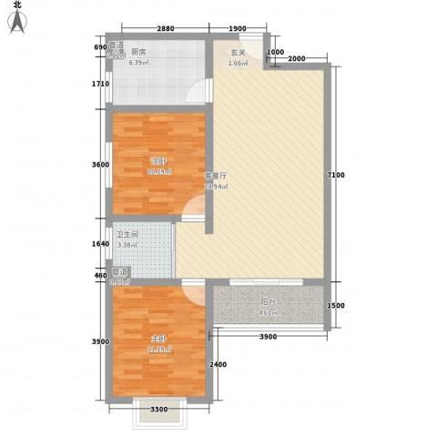 龙宇国际新城2室1厅1卫1厨65.05㎡户型图