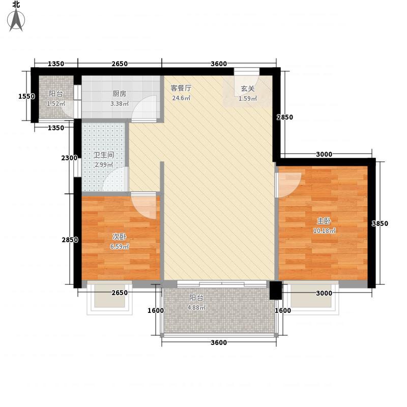 星汇峰户型图C座3栋04单元户型图 2室2厅1卫1厨