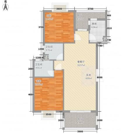 国色天香2室1厅2卫1厨115.00㎡户型图